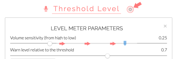 Volume level meter parameters